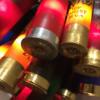 Closeup of multi-colored buckshot lights lit up.
