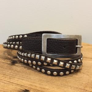 Image of the 3 strand black studded leather belt by Leatherock.